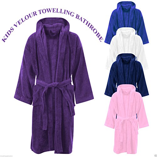 Linen Galaxy Kids Boys Girls White Velour Hooded Bathrobes Terry Towel Egyptian Cotton Dressing Gown 10-12 Years
