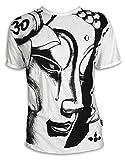 SURE Herren T-Shirt Weinender Buddha Größe M L XL Om Aom Symbol Buddhismus Lotus-Blume Yoga Weiss L