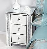 Miusco verspiegelte Kristallverzierter 3 Schubladen Nachttisch Schlafzimmer Schrank Nachttisch - 4