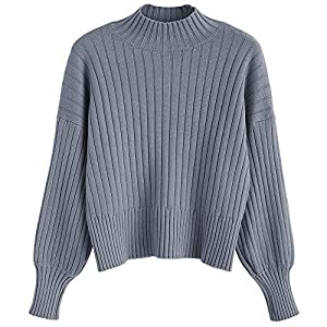ZAFUL Damen Locker Rollkragenpullover Langarm Sweater Pulli Lose Bluse Pullover Tops