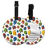 Round Travel Luggage Tags,Legendary Cartoon Character Masks Flash Batman Spider-Man Comic Costume Print,Leather Baggage Tag