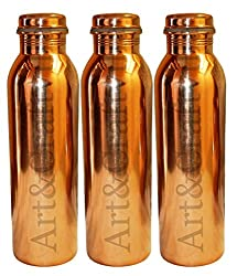Artandcraftvilla Set of 3 Joint Free Leak Proof Copper Water Bottle 850 ML for use Storage Water Good Health Benefits Sports,Travel Bottle Gift ITem