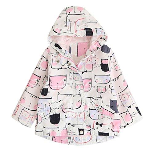 Preisvergleich Produktbild Longra Baby Kinder Jungen Mädchen Cartoon Trenchcoat Hoodie Sweatjacke mit Kapuze Kinderjacke Reißverschluss Kapuzenjacke Kapuzenpullover Windbreaker Mantel Outwear (3-7Jahre)) (120CM 5Jahre, Pink)