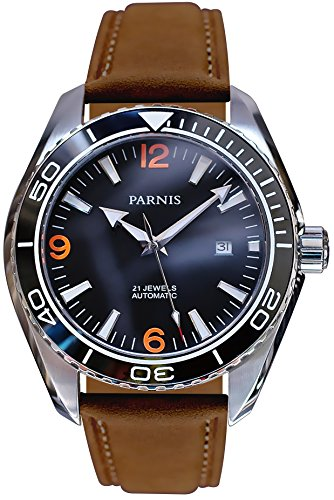 PARNIS 2180 Automatikuhr MIYOTA Uhrwerk Herren-Armbanduhr 45mm Edelstahl-Gehäuse Keramiklünette Saphirglas Wildlederarmband Faltschließe