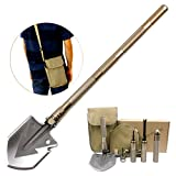 74 cm/30'' Military Multi Compact Outdoor Tool Folding Shovel with Knife and Fire Starter - Perfect for Snow Shovel, Entrenching Tool, Auto Emergency Kit, Survival Axe, Camping Multitool,Trench Entrenching Tool, Tactical, Military, Self-Defense (Gold)