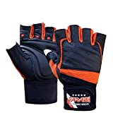 Farabi Weight Lifting Gym Training Wrist Support Bar Gloves Leather (EXTRA LARGE)