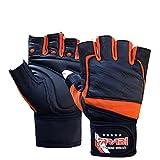 Farabi haltérophilie, pro fitness, salle de gym la formation support de poignet gants de bar en cuir (noir / orange, moyen)
