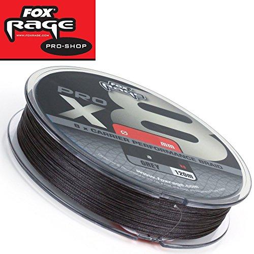 Fox Rage Pro x8 120m grau - geflochtene Angelschnur zum Spinnangeln auf Hechte, Zander & Barsche, Schnur zum Spinnfischen, Durchmesser/Tragkraft:0.20mm / 41lbs / 19kg Tragkraft