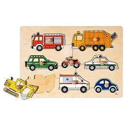 Puzzle Incastro in Legno con POMELLI GOKI – MEZZI di Trasporto – PZ. 8