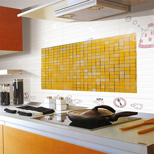Self-adhensive Mosaics Kitchen Backsplash Oil Proof Sticker Drawer Cabinet Liner Sticker Removable Wallpaper Waterproof Wall Art Mural Sticker Bathroom Applique Decor (Orange)