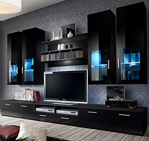 Muebles Bonitos –Mueble de salon modelo Acosta color con negro (3 m)