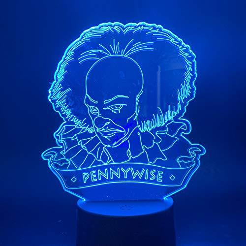 Optische Täuschungslampe 3D-Nachtlicht, Clown-Led-Licht, Farb-Touch-Gradienten-Atmosphärenlicht - Drucken Clown
