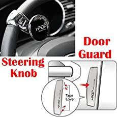 Riderscart I-Pop Car Steering Knob Door Guard with I-POP Car Door Guard with 3M Sticker for Tata Aria