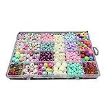 Sungpunet Perles colorées Perles de Bricolage Perles Colorées Jouet Perles Bijoux Bijou pour Cheveux Bracelet chaîne Perles Perles pour Enfants Jouet 1Set (avec Sept Accessoires)...