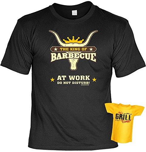 King aof Barbecue - Männer Griller T-Shirt mit Mini Shirt It´s Grill Time - Gourmet BBQ Geschenk Set für Ihn Schwarz