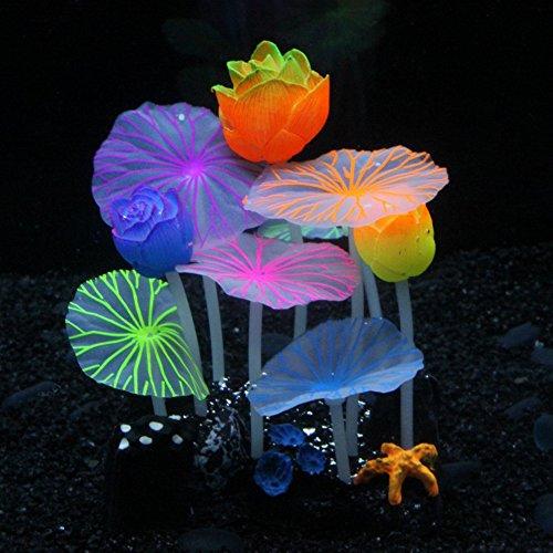 SLOME Aquarium-Dekoration, leuchtende Pilze, aus Silikon, umweltfreundlich, für Süßwasser, Salzwasser, Aquarium, Betta, Fische - Fisch Betta Für Aquarium