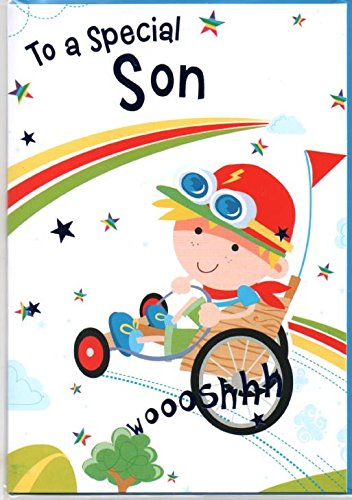 Special Son Geburtstagskarte, Go-Kart, kostenloser 1st Class Post (UK)