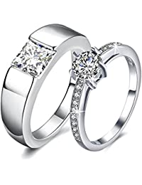 Via Mazzini White Gold Plated Crystal Proposal Promise Couple Rings for Girls and Boys (Ring0279)