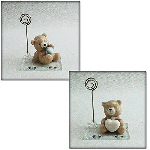 Dlm26581 (kit 6 pezzi) portafoto memo clip in vetro con orso orsetto orsacchiotto in ceramica bomboniera