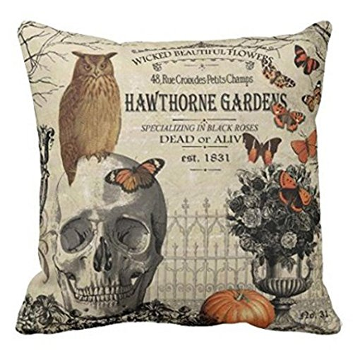 Quadratisch Kissenbezüge, ubabamama Happy Halloween Kissen Leinen Sofa Kissenbezug Reißverschluss Kopfkissen Home Dekoration a