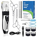 Lanero Dog Clippers, Low Noise Pet Clippers Rechargeable Cordless Dog Trimmer Pet Grooming