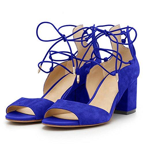 blau Toe Samt heels Sandalen Knöchelriemchen Damen High Sommer Blockabsatz Peep P8Rxwz