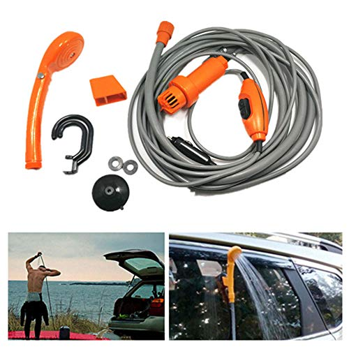 JUZZQ 12 V Tragbare Outdoor Automobil Auto Dusche Set WassersprüHpumpe ZigarettenanzüNder Powered Eingebaute Wasserfilteranlage Camping Caravan Camp Wandern Outdoor Pet Wash,Orange -