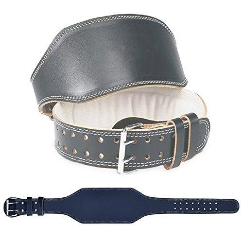 Grofitness, gepolsterter Gewichtheber-Gürtel aus PU-Leder, Wildleder, mit Samt-Futter für starke Rücken-Unterstützung, Gürtel mit Schnalle, schwarz -