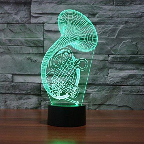 Lampe 3d Illusion Lichter der Nacht, kingcoo verstellbar 7Farben LED Acryl 3d Creative Stereo Touch Switch Visual Atmosphäre Licht Tisch, Geschenk für Geburtstag Weihnachten Modern Saxófono - 3