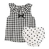 Longra Baby Mädchen Kleidung Set mit Ärmellos Karierte Blusetop Tank Top Shirt Ausschnitt mit Volant und Bowknot + Pünktchen Flock Weiß Shorts Sommer Bekleidungsset Outfits (White, 90CM 2Jahre)
