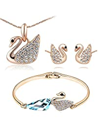 Valentine Gifts : YouBella Jewellery Cute Swan Crystal Combo Of Fancy Party Wear Pendant Necklace Set, Bangle...