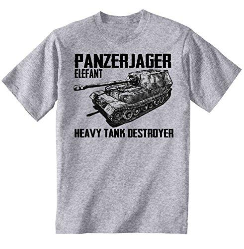 teesquare1st Panzerjager Elefant Camiseta Gris para Hombre de Algodon Size Xxxxlarge