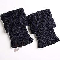 Arbre Calcetines de niñas Calzados de Mujer cálidos Botas de Lana de Punto para Mujer, Conjunto de Leggings de Malla de Diamante de Corte Corto (Color: Azul Marino)