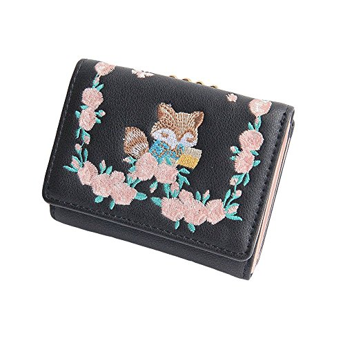 Damen Geldbörse Fuchs Blume Stickerei Portemonnaie für Frauen Mädchen mit Münzen Taschen und Kiss Lock Geschlossene (Schwarz) -