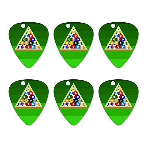 Billard Kugeln und Triangle Pool Tisch Neuheit Gitarre Plektrum Plektron Picks Stärke Medium–Set of 6