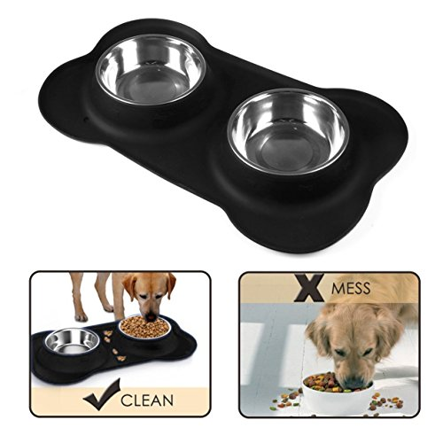 Bone-Shape-Dog-Bowl-with-No-Spill-Non-Skid-Silicone-Mat-Feeder-Bowls-Pet-Bowl-for-Dogs-Cats-and-Pets-for-littlemiddle-dogs-Safe-Removable-Stainless-Steel-Bowls-Black