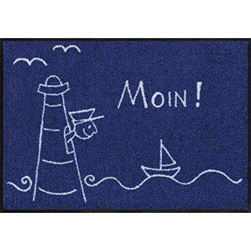 Salonloewe Fußmatte waschbar Leuchturm 50x75 cm blau weiß SLD1058-050x075 Lighthouse