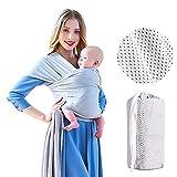 Écharpe de Portage, Porte bébé doux et confortables pour bébés jusqu'à 20 kg (45 lb); Porte-bébé ergonomique mains libres en tissu à mailles idéal pour étés/plage (Gris clair)