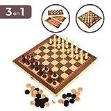 Set de Ajedrez, Damas y Backgammon. Tablero de madera plegable, 34*34cm. Juego de mesa portátil y ligero, ideal para viajar. Entretenimiento para niños y adultos