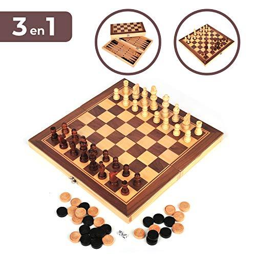 Set de Ajedrez, Damas y Backgammon. Tablero de madera plegable, 34*34cm. Juego...