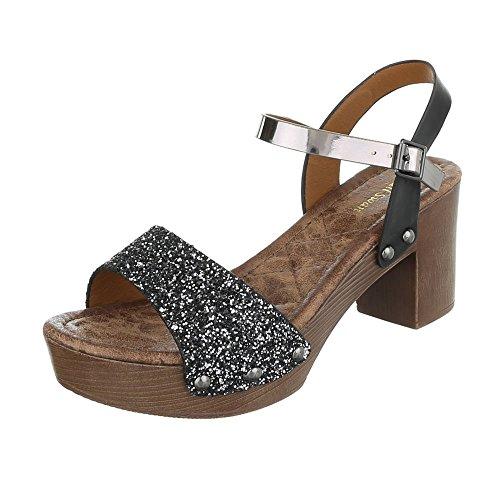 Ital-Design High Heel Sandaletten Damen-Schuhe Plateau Blockabsatz Blockabsatz Schnalle Sandalen/Sandaletten Schwarz, Gr 36, Fe016-