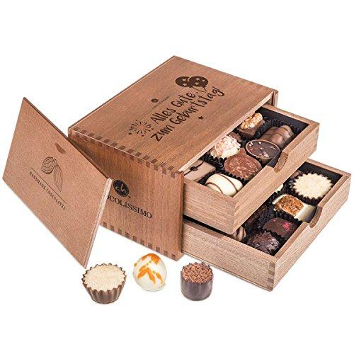 Chocolaterie - Geburtstag - 20 Luxus Pralinen | in einem Holzkästchen | Alles Gute zum Geburtstag Schokolade | Geschenkidee | Geburtstagsgeschenk | Frauen | Männer | Mutter | Mama | Papa