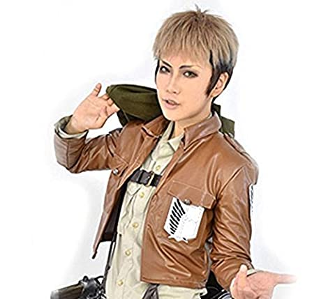 2013 Wig Jean Kirstein Attack on Titan Short Blonde Black Anime Cosplay Party Wig Costume +Wig Cap by Anogol by Anogol