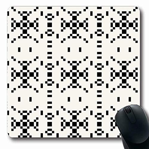 Mousepads Geometrische American Hipster Schwarz Weiß Pixel Abstrakt Multicolor Aztec Teppich Kultur Diamond Drawn Oblong Shape Rutschfeste Gaming Mouse Pad Gummi Oblong Mat,Gummimatte 11,8