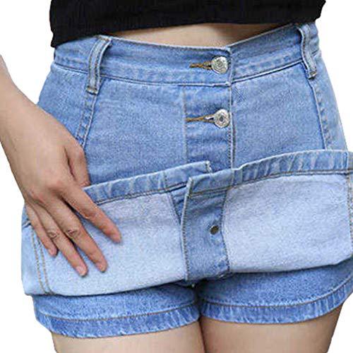 Denim-skort (YyingFrauen Retro Hohe Taille Mini Denim Jeans Rock Einreihiger Rock A Line Sommer Casual Bleistift Skorts Mit Inneren Shorts Dunkelblau L)