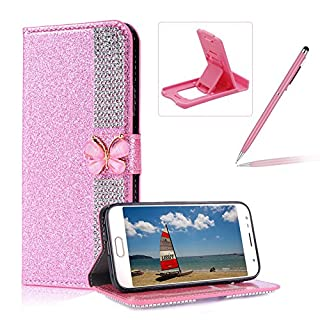 Diamond Wallet Leather Case for Samsung Galaxy J510 2016,Flip Cover for Samsung Galaxy J510 2016,Herzzer Premium Luxury Butterfly Buckle Magnetic Closure Pink Glitter Stand Case with Inner Soft Rubber Protective Case