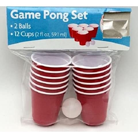 14pc Mini Red Plastic Cups Beer Pong Shot Set Balls Adult Drinking Games Party.