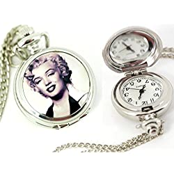 TAPORT® MARILYN MONROE Quartz ROUND POCKET RETRO PIN UP WATCH+FREE SPARE BATTERY+FREE GIFT BAG