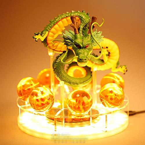 Dragon Ball Z Creativo DIY LED Dragon Ball Z Spirit Bomb Luz de mesa Son Goku Broly Noche Luces Lámpara de mesa Lámpara de cristal Lámparas de decoración, Shenlong b