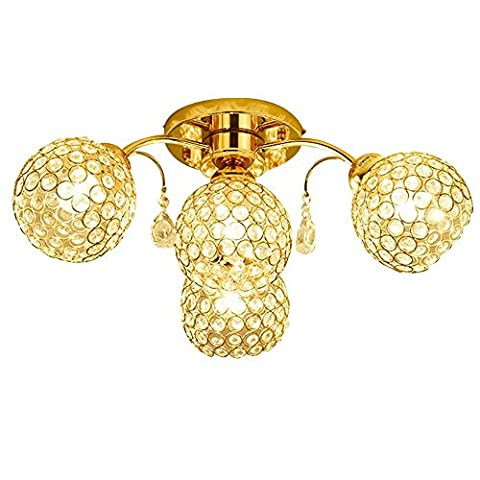 Lampe pour plafond Luxe Crystal Moderne Simple L'Europe Rond 4-lights